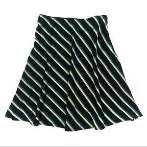 Ann Taylor Green/Black Silk Stripes Midi Skirt
